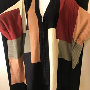 NY collection women's poncho color block size m